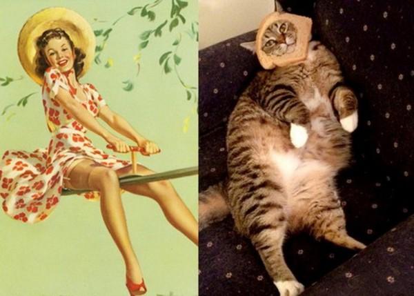 Картинки в стиле пин-ап. Девушка и котик верхом на метле
