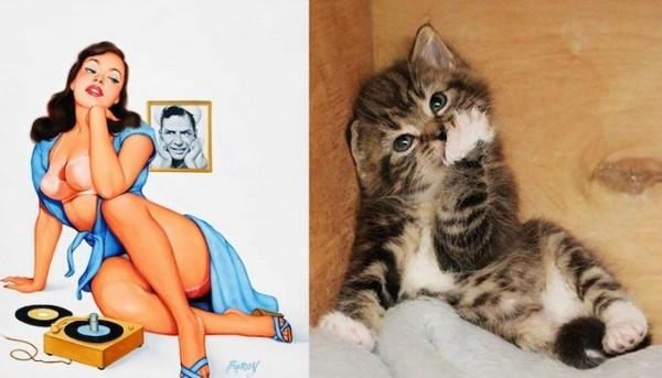 Картинки в стиле пин-ап. Девушка и котик мечтают