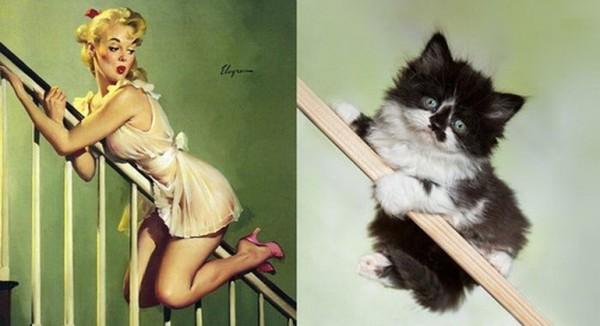 Картинки в стиле пин-ап. Девушка и котик на перилах