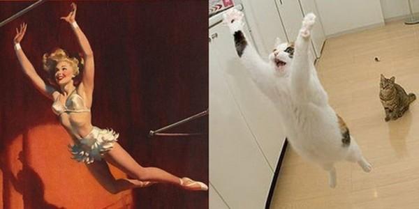 Картинки в стиле пин-ап. Девушка и котик полетели