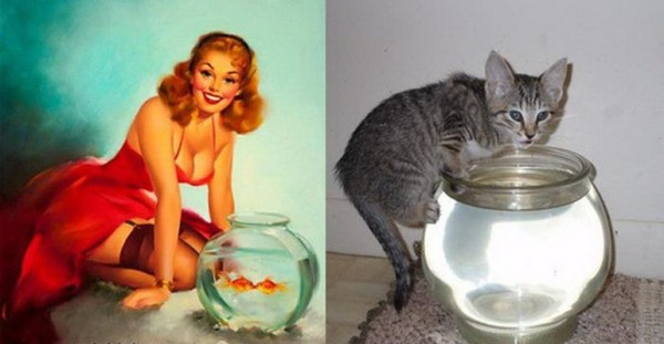Картинки в стиле пин-ап. Котик девушка и рыбки