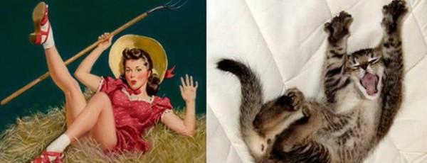 Картинки в стиле пин-ап. Котик и девушка восторг