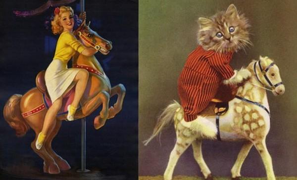Картинки в стиле пин-ап. Котик и девушка наездники