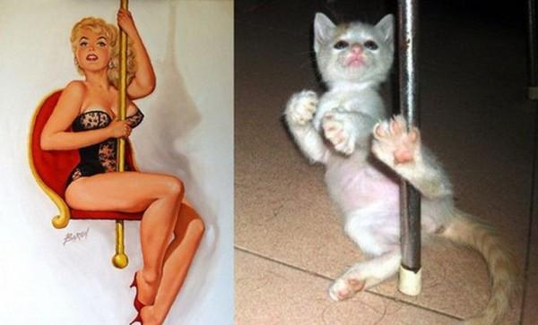 Картинки в стиле пин-ап. Котик и девушка у шеста