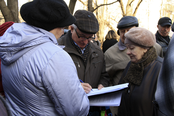 Малаховка против тарифов ЖКХ, сбор подписей, Фото Светланы Фонфрович