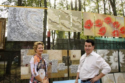 Аукцион живописи летний парк в Малаховке, Вячеслав Хабиров с супругой
