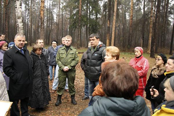Рубка леса в Малаховке 2014, митинг на поляне
