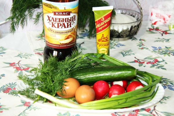 окрошка по-деревенски, окрошка традиционная, окрошка без колбасы